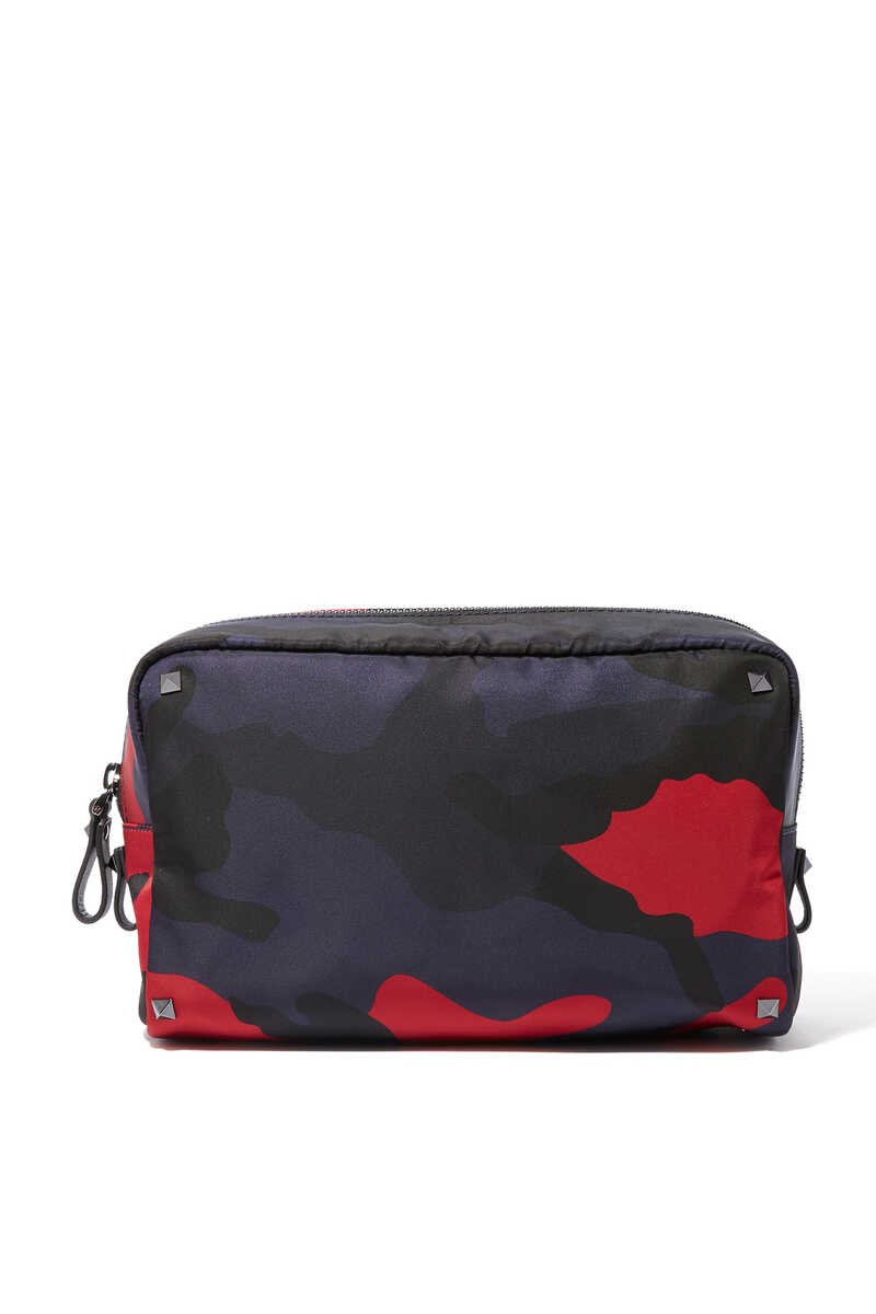 NAVY AND RED CAMOUFLAGE WASH BAG:Dark Green:One Size image number 1
