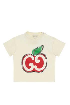 تي شيرت بطبعة تفاحة وشعار GG