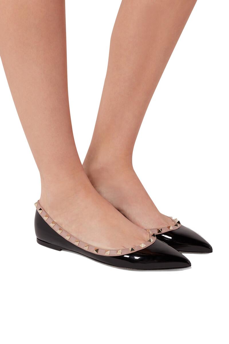 حذاء باليرينا فالنتينو غارافاني جلد لامع بحلي هرمية image number 2