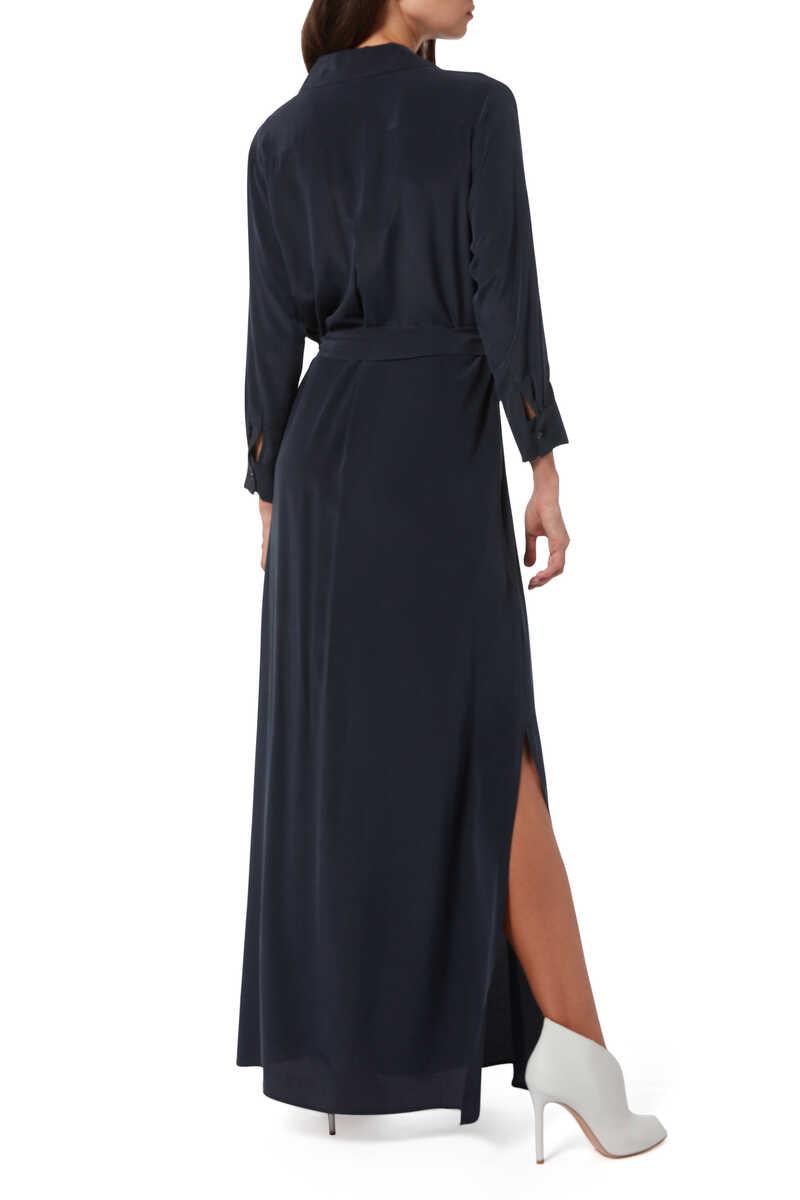 فستان كاميرون حرير بنمط قميص image number 3