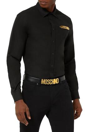 قميص بشعار الماركة ذهبي اللون