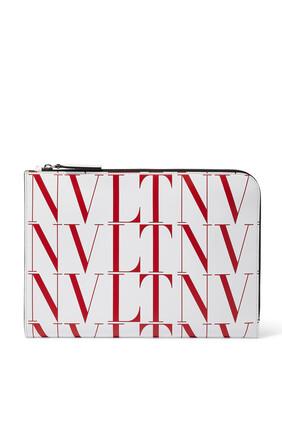 حقيبة فالنتينو غارافاني جلد بنقشة تايمز بشعار VLTN
