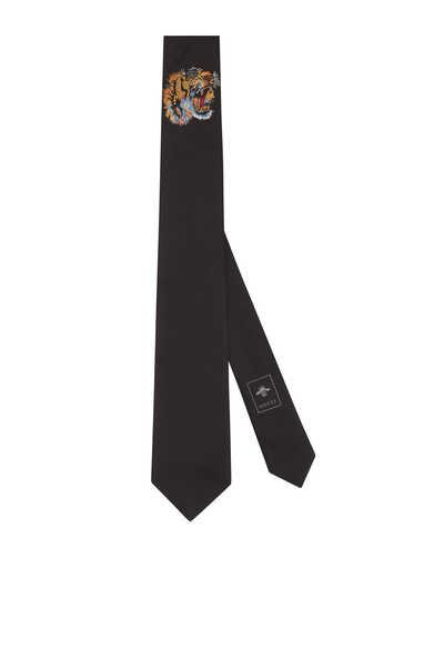 ربطة عنق حرير مزينة بنمر