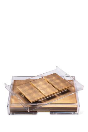 طقم أدوات مائدة غراند مات بوكس شفاف من رقائق فضة مطلية بلون ذهبي