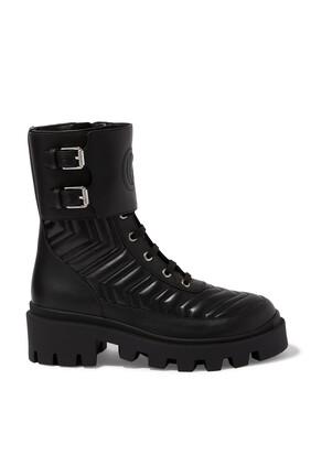 حذاء بوت بشعار حرفي G متداخلين جلد