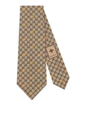 ربطة عنق حرير بنقشة حرفي GG ونحل