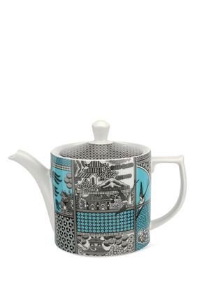 إبريق شاي سبود بطبعة شجر الصفصاف مقسمة لأجزاء أخضر زمردي