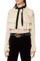 حزام جلد بشعار حرفي GG