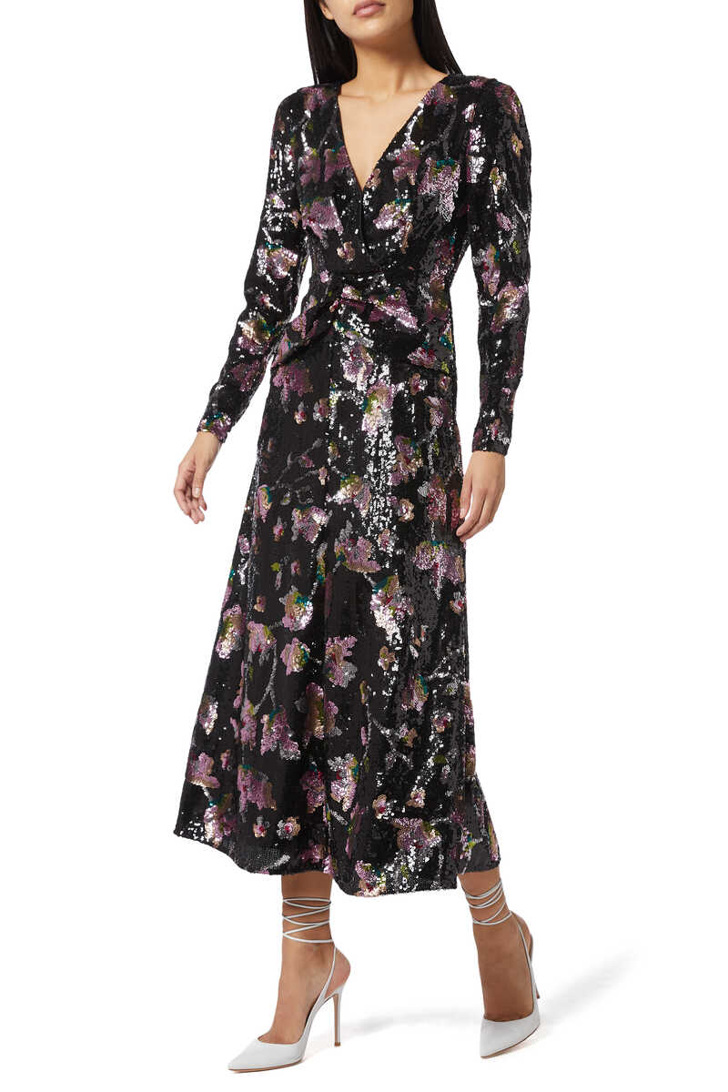 MIDNIGHT BLOOM DRESS:Multi Colour:8 image number 1