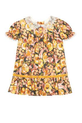 فستان دانتيل بنقشة زهور