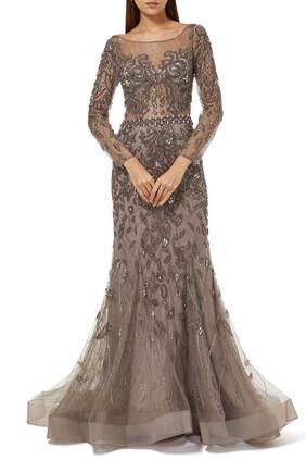 فستان مطرز بخرز بلون موف