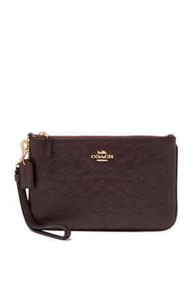 حقيبة معصم صغيرة جلد بشعار الماركة