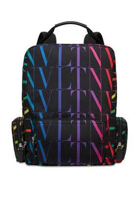 حقيبة ظهر فالنتينو غارافاني نايلون بشعار VLTN بنقشة تايمز