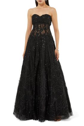 فستان سهرة مطرز بدون حمالات