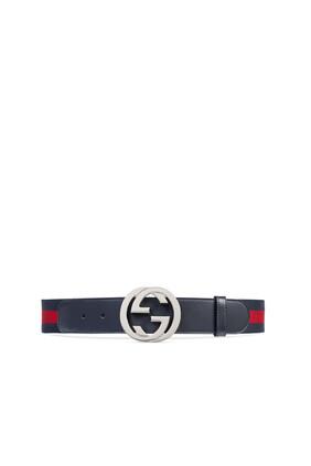 حزام ويب بإبزيم بتصميم حرفي GG متداخلين