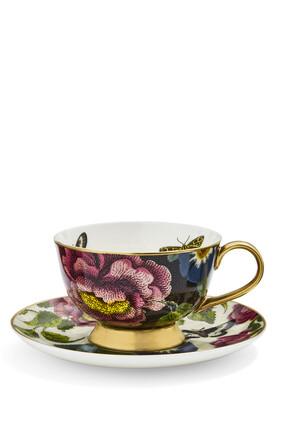 طقم فنجان شاي وطبق كريتشرز اوف كيوريوسيتي بنقشة الزهور