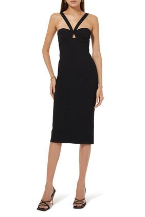 فستان منسوج متوسط الطول بفتحة رقبة V
