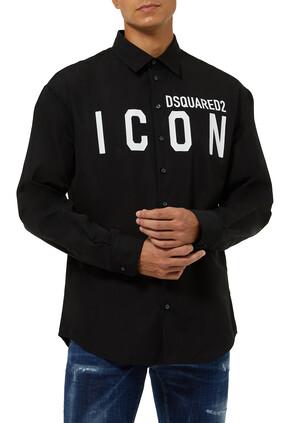 قميص قطن بطبعة كلمة Icon
