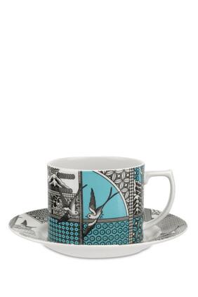 فنجان شاي وطبق سبود بطبعة شجر الصفصاف مقسم لأجزاء