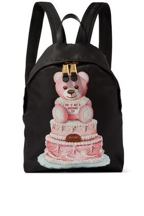 حقيبة ظهر مزينة بالدب تيدي وكيك