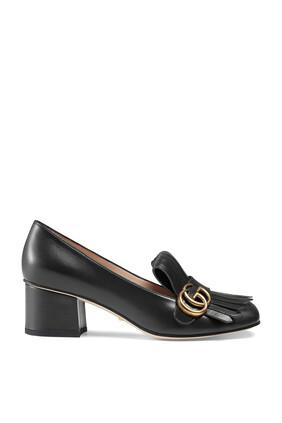 حذاء كلاسيك بشعار الماركة بكعب متوسط الارتفاع