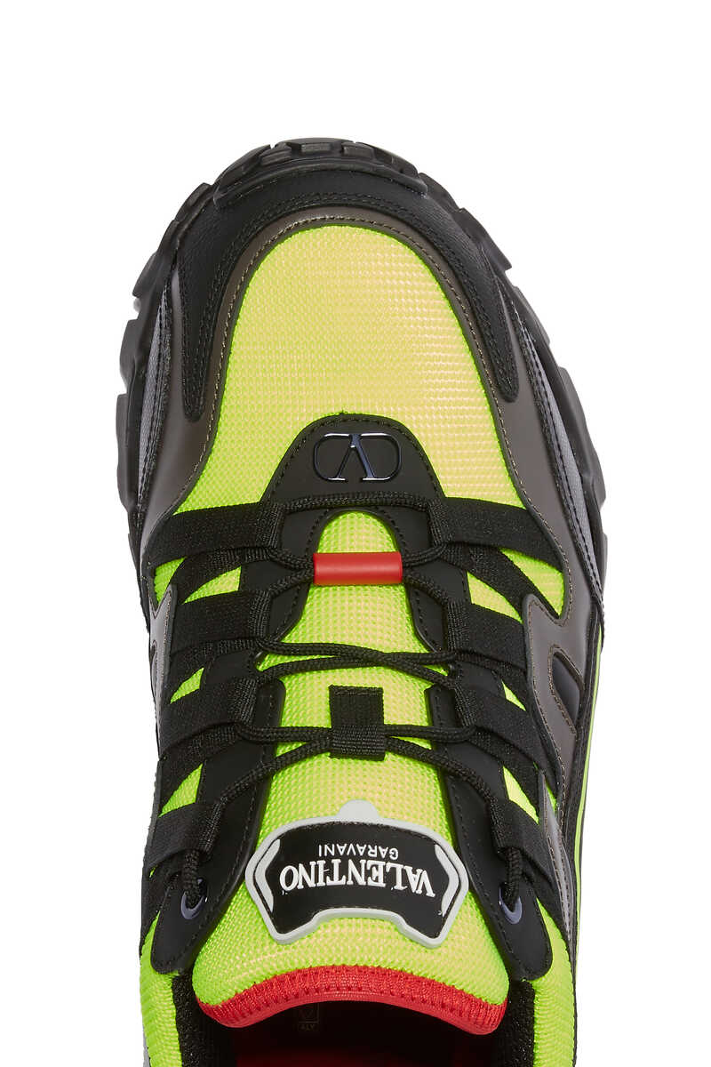 LEATHER AND KNIT CHUNKY SOLE RUNNER:Navy :42 image number 4