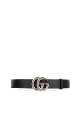 حزام جلد بإبزيم بتصميم حرفي G متداخلين
