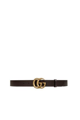 حزام جلد بإبزيم بتصميم حرفي GG متداخلين