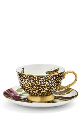 طقم فنجان شاي وطبق كريتشرز اوف كيوريوسيتي بنقشة جلد الفهد والأفعى