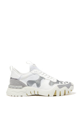 FLUO GREEN/OLIVE/SILVER CAMOUFLAGE ROCK RUNNER PLUS SNEAKER:White :44
