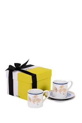 طقم فناجين وأطباق إسبريسو كنوز مع صندوق هدية، 6 قطع