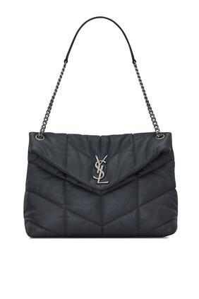 حقيبة لولو متوسطة الحجم جلد مجعد غير لامع بتصميم مبطن منفوخ