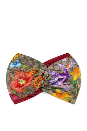 طوق رأس بنقشة الزهور وشعار GG