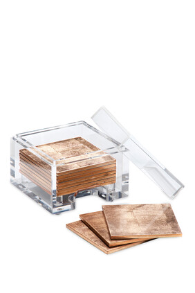 قواعد أكواب كوست بوكس رقائق فضة مع صندوق شفاف