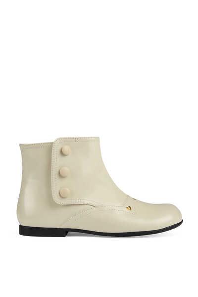 حذاء بوت جلد بطول الكاحل