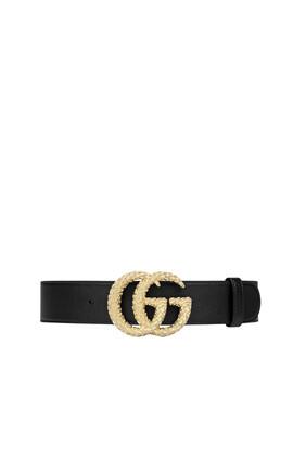 حزام جلد بارز الملمس بشعار حرفي G