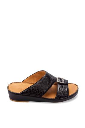 حذاء مفتوح جلد بنقشة جلد التمساح