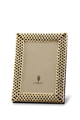 إطار صور 4 × 6 بتصميم مجدول مطلي بالذهب