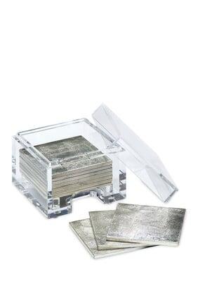 قواعد أكواب كوست بوكس من رقائق الفضة مع صندوق شفاف، طقم من 8 قطع