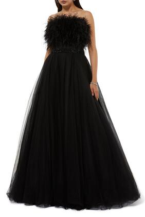 فستان سهرة بلا حمالات مزين بريش
