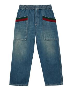 بنطال جينز دينم باهت