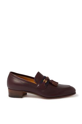 حذاء سهل الارتداء جلد بشعار حرفي GG متداخلين