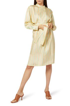 فستان بنمط قميص حرير بخطوط ملونة
