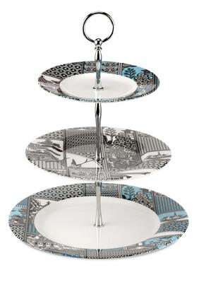 حامل كيك سبود بطبعة شجر الصفصاف مقسمة لأجزاء 3 طبقات
