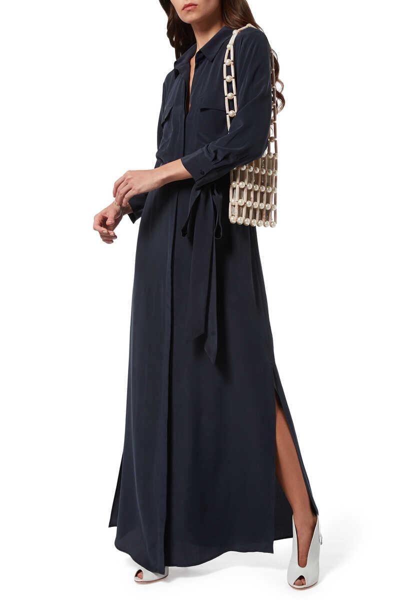 فستان كاميرون حرير بنمط قميص image number 2