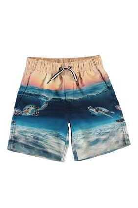 شورت سباحة بطبعة شاطئ وغروب الشمس