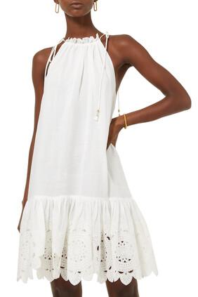 فستان تيدي قصير بحافة صدفية
