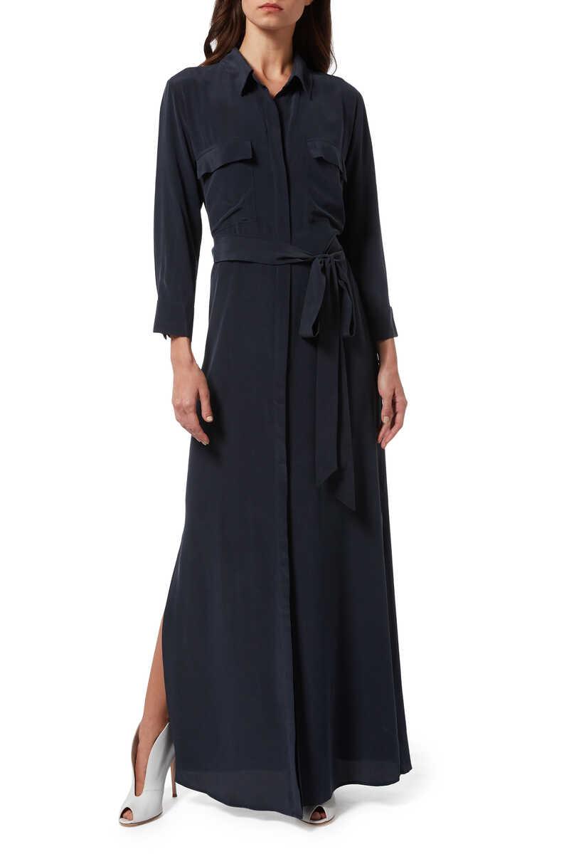 فستان كاميرون حرير بنمط قميص image number 1
