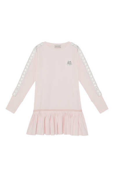 فستان جيرسيه بشريط بشعار الماركة