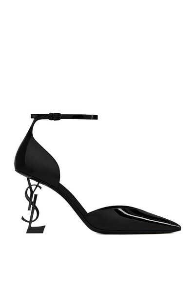 حذاء كلاسيك أوبيوم دورساي جلد لامع بكعب بتصميم شعار الماركة
